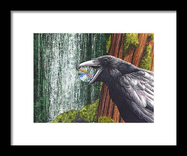 Raven Framed Print featuring the painting Sparkle by Catherine G McElroy