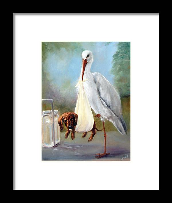Nature Framed Print featuring the painting Special Delivery by Stella Violano