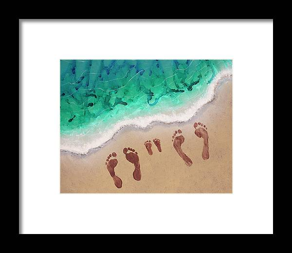 Body Prints Painting Framed Print featuring the painting Speck Family Beach Feet by April Kasper