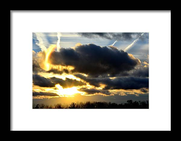 Sunrise Framed Print featuring the photograph Spectacular Sunrise In Clouds by Reva Steenbergen