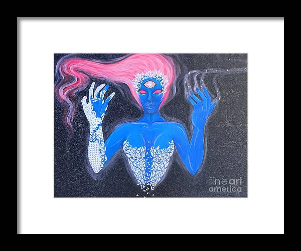 Trippy Space Pink Hair Stars Magic Fantasy Psychedelic Framed Print featuring the painting Spectral Space by Ria Juarez