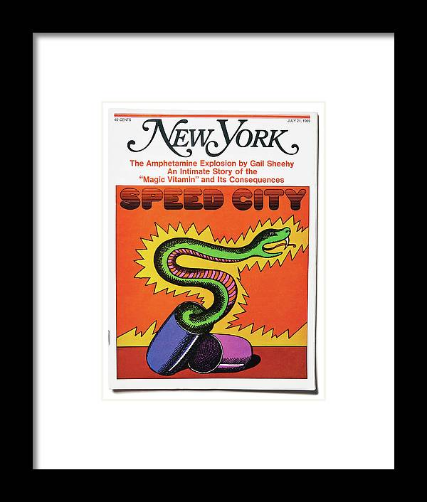 New York Magazine Framed Print featuring the mixed media Speed City by Milton Glaser