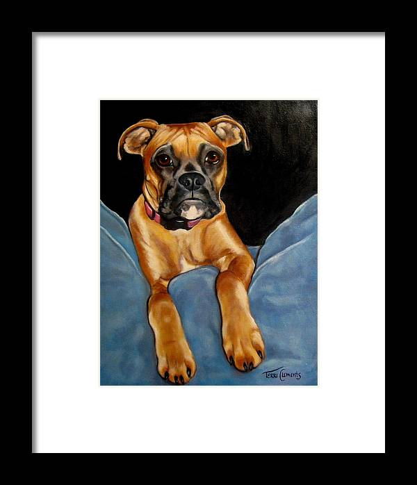 Dog Framed Print featuring the painting sPepper by Terri Clements