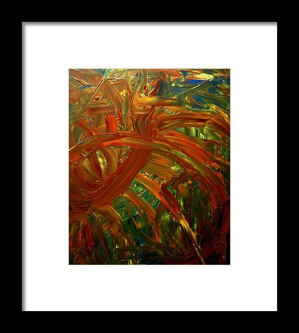 Abstract Framed Print featuring the painting Speyedr In The Grass by Karen L Christophersen
