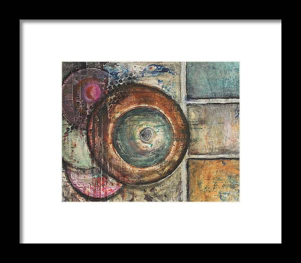Abstract Framed Print featuring the painting Spheres Abstract by Morten Hjerpsted