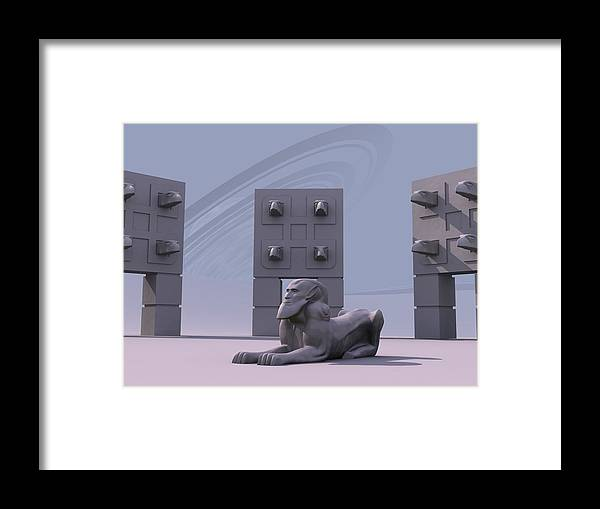 Surreal Framed Print featuring the digital art Sphinx by Mariusz Loszakiewicz