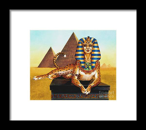 Cat Framed Print featuring the painting Sphinx On Plinth by Melissa A Benson