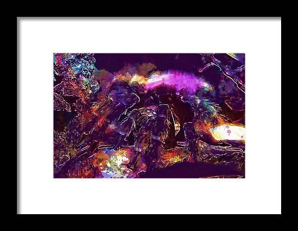 Spider Framed Print featuring the digital art Spider Animal Zoo by PixBreak Art
