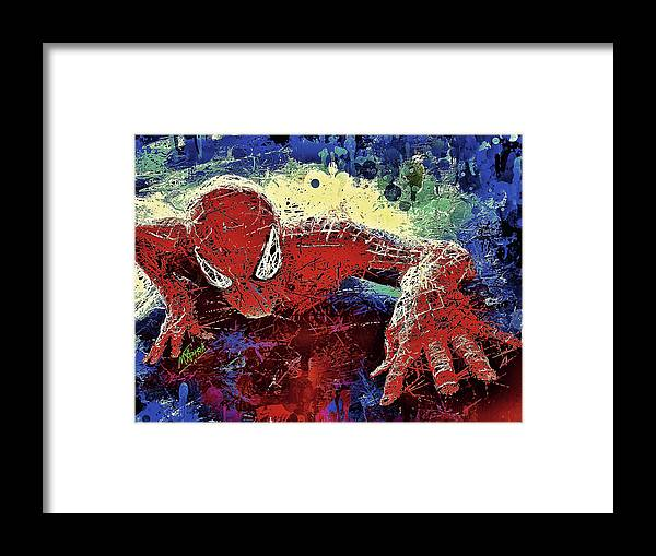 Spider Framed Print featuring the mixed media Spiderman Climbing by Al Matra