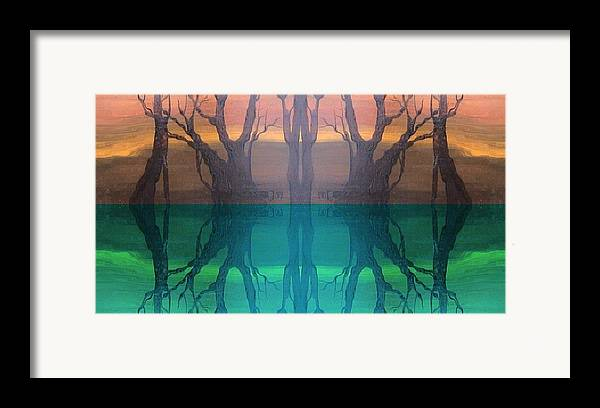 Evening Framed Print featuring the digital art Spiegelungen by Amrei Al-Tobaishi-Jarosch