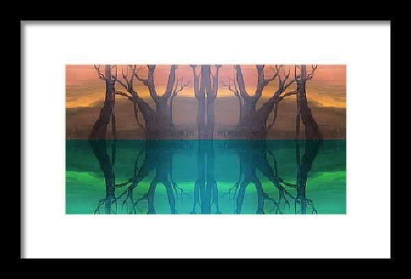 Evening Framed Print featuring the digital art Spiegelungen by Amrei Al-Tobaishi-Jarosch