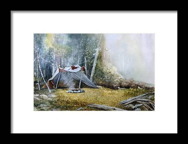 Tent Framed Print featuring the painting Spike Camp by Lynne Parker