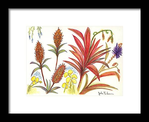 Red Flowers Framed Print featuring the painting Spiky Florida Flowers by Julie Richman