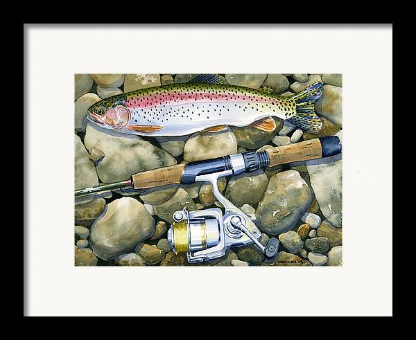 Fish Framed Print featuring the painting Spin Trout by Mark Jennings