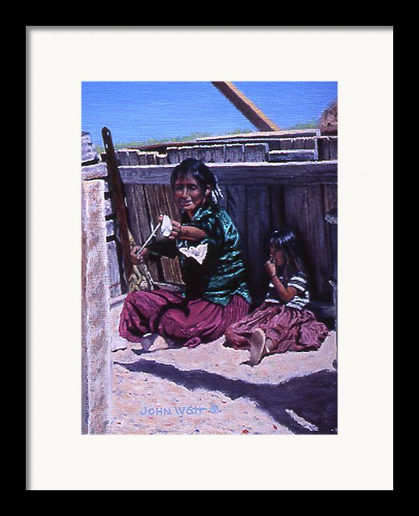 Navajo Indian Southwestern Monument Valley Framed Print featuring the painting Spinnin' A Yarn by John Watt