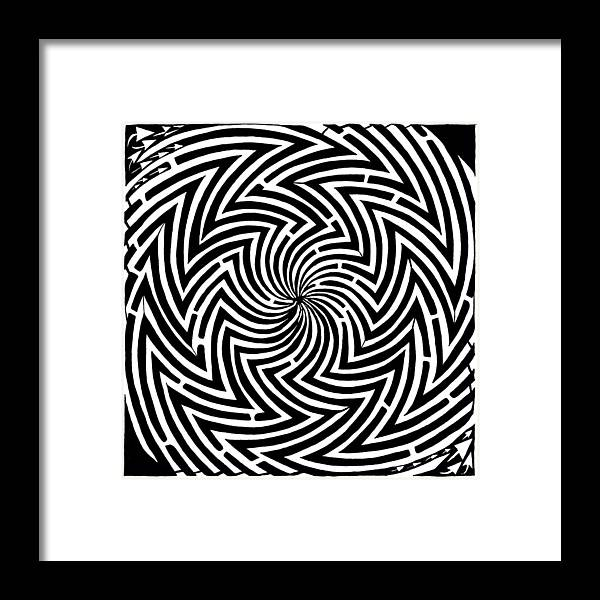 Spinning Framed Print featuring the drawing Spinning Optical Illusion Maze by Yonatan Frimer Maze Artist