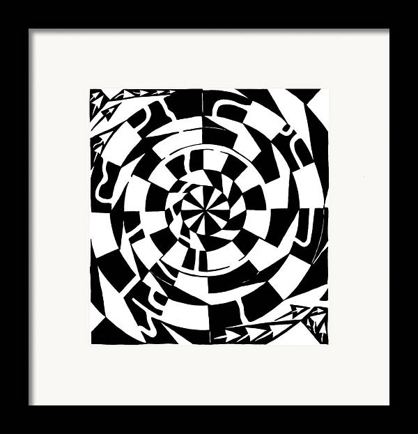 Spinning Framed Print featuring the drawing Spinning Tunnel Maze by Yonatan Frimer Maze Artist