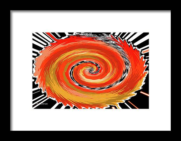 Spiral Of Fire Framed Print featuring the digital art Spiral Of Fire by Tom Janca