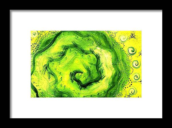 Green Framed Print featuring the painting Spiral Of The Heart by Chandelle Hazen