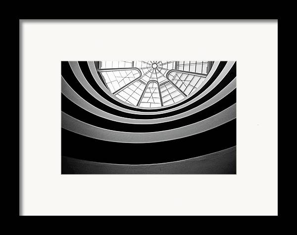 America Framed Print featuring the photograph Spiral Staircase And Ceiling Inside The Guggenheim by Sami Sarkis