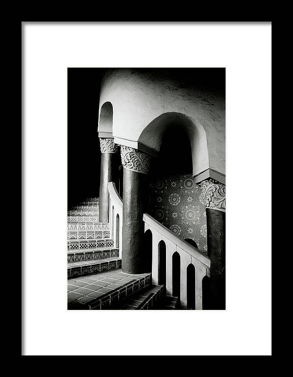 Stairs Framed Print featuring the mixed media Spiral Stairs- Black And White Photo By Linda Woods by Linda Woods