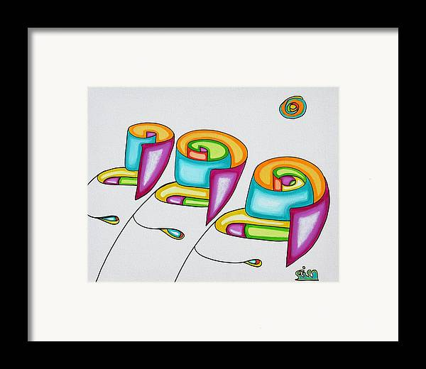 Fantasy Framed Print featuring the painting Spiral Triplets by      Gillustrator