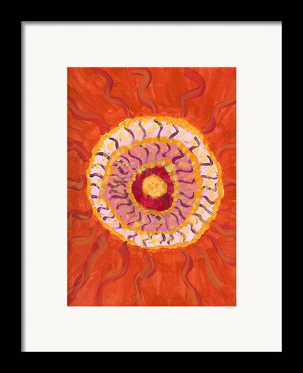 Flower Framed Print featuring the painting Spiraling To The Center by Laura Lillo