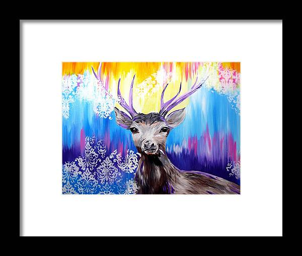 Deer Framed Print featuring the painting Spirit Animal by Cathy Jacobs