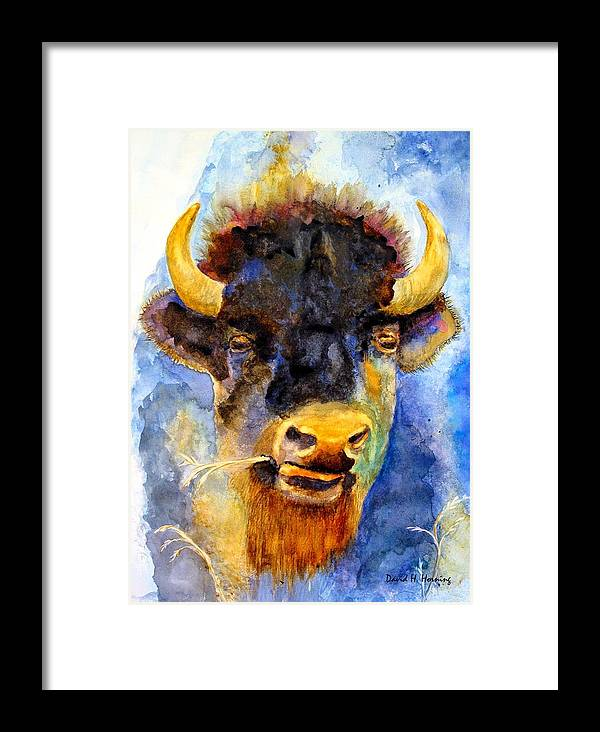 Animal Framed Print featuring the painting Spirit Buffalo by David Horning