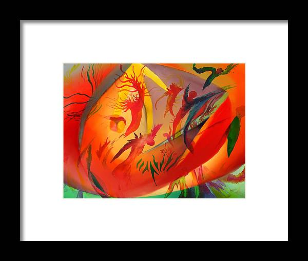 Abstract Framed Print featuring the painting Spirit Dance in the Cave by Peter Shor