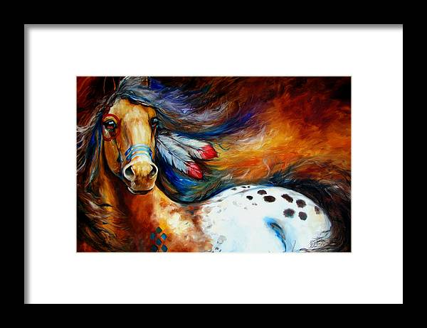 Horse Framed Print featuring the painting Spirit Indian Warrior Pony by Marcia Baldwin