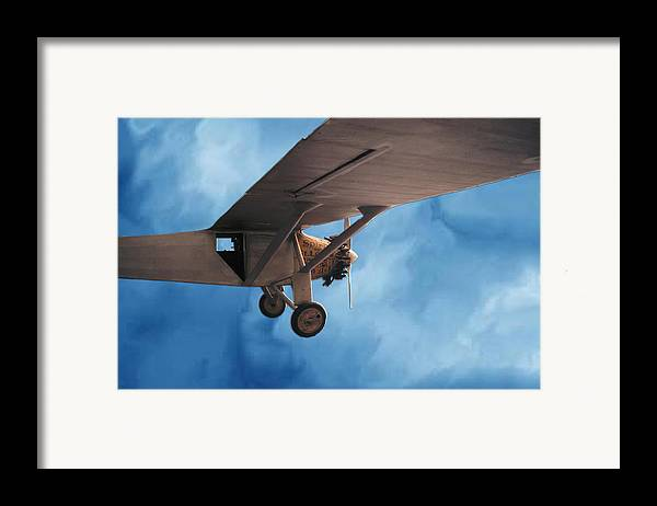 Sky Flight Plane spirit Of Saint Louis Adventure Imagination Dream Framed Print featuring the photograph Spirit Of Saint Louis Flys Again by Lawrence Costales