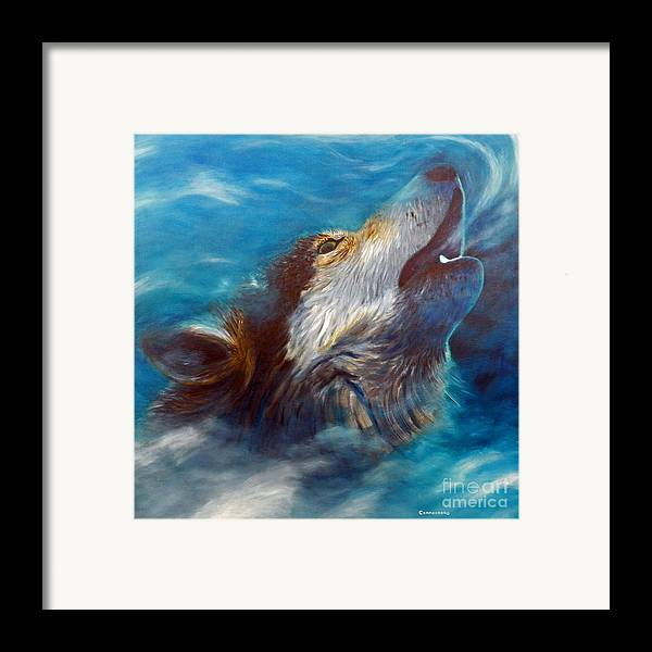 Wolf Framed Print featuring the painting Spirit Of The Wolf by Brian Commerford