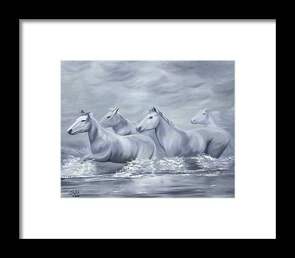 Horses Framed Print featuring the painting Spirit by SheRok Williams