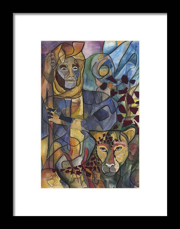 Man Framed Print featuring the painting Spirit Tracker by Kimberly Kirk