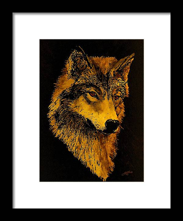 Wolf Framed Print featuring the painting Spirit Wolf by John Guthrie