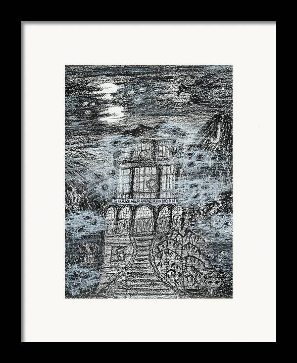 Framed Print featuring the drawing Spirit World At Jerome Grand Hotel Jerome Az by Ingrid Szabo