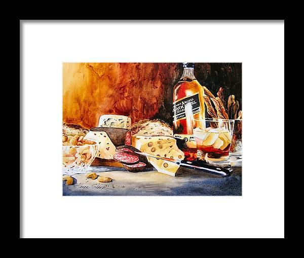 Scotch Framed Print featuring the painting Spirited Indulgences by Karen Stark