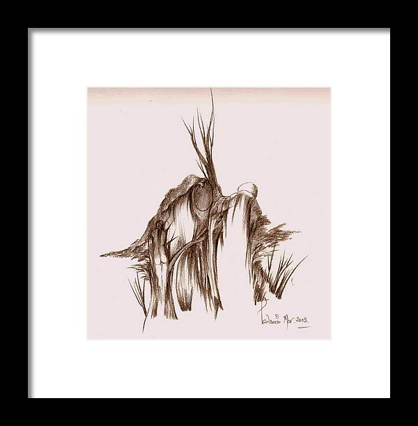 Landscape Framed Print featuring the drawing Spirits In The Hill by Padamvir Singh