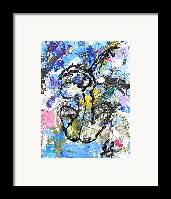 Abstract Framed Print featuring the painting Spirits Of My Palette- Nude by Santiago Chavez