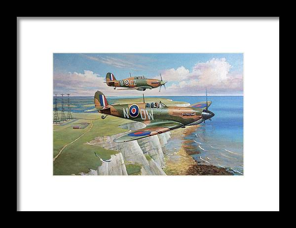 Spitfire Framed Print featuring the painting Spitfire And Hurricane 1940 by Mike Jeffries