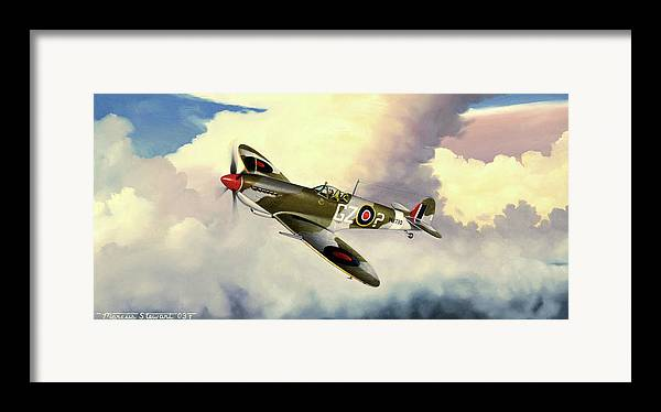 Military Framed Print featuring the painting Spitfire by Marc Stewart