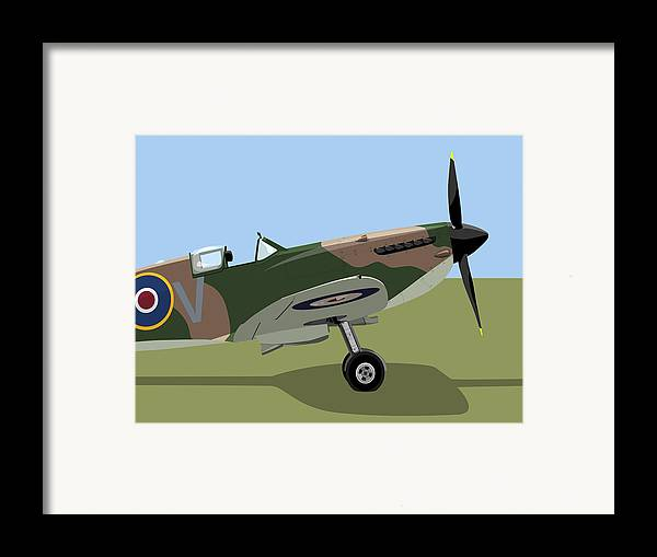 Spitfire Framed Print featuring the digital art Spitfire Ww2 Fighter by Michael Tompsett