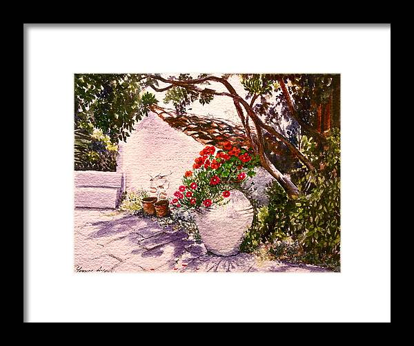 Greece Framed Print featuring the painting Spitimou by Yvonne Ayoub