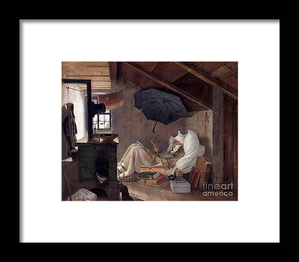 19th Century Framed Print featuring the photograph Spitzweg: Poor Poet, 1839 by Granger