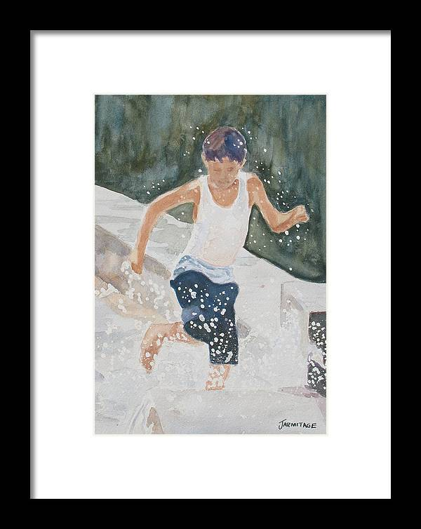 Boy Framed Print featuring the painting Splash Dance by Jenny Armitage