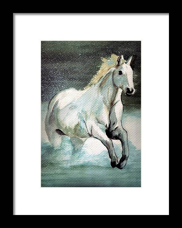 White Horse Water Running Horse Framed Print featuring the painting Splash by Debra Sandstrom