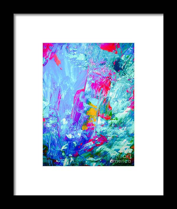 Abstract Framed Print featuring the painting Splash by Elle Justine