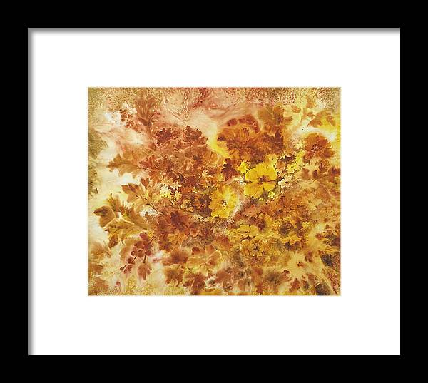 Floral;contemporary;autumn Colors;flowers; Framed Print featuring the painting Splash Of Autumn Color by Lois Mountz