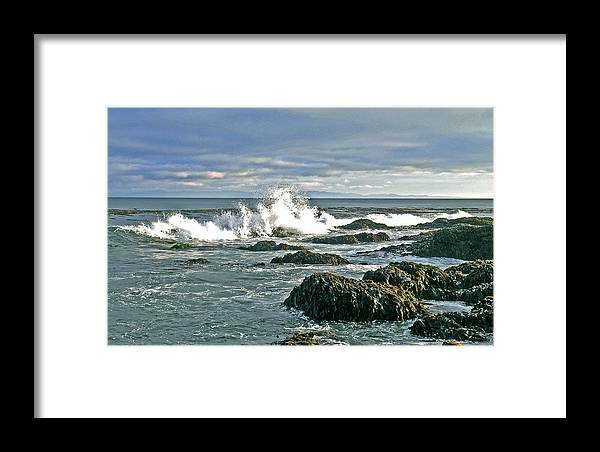 Seascape Seascapes Breaker Breakers Breaking Wave Waves Rock Rocks Ocean Water Sea Shore Seashore Olympic Peninsula Framed Print featuring the photograph Splash by Wilbur Young